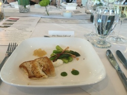 second course: wild nova scotia halibut with asparagus hazelnut salad with goat cheese mousse and cider gastrique. paired with Charles Baker 2014 Reisling Ivan Vineyard.