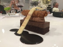 chocolate torte with white chocolate chiffon, ganache, florentine, cocoa oil paired with Stratus 2012 Botrytis Semillion.